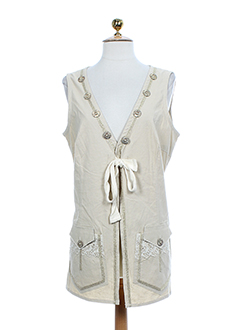 BE THE QUEEN Gilet BEIGE MULTICOLORE Gilet FEMME (photo)