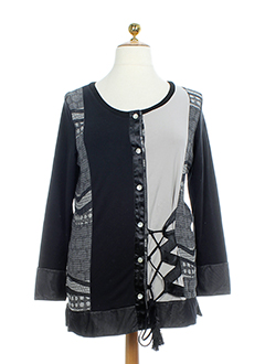 BE THE QUEEN Gilet NOIR MULTICOLORE Cardigan FEMME (photo)