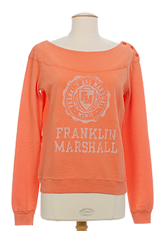 FRANKLIN MARSHALL Pull ORANGE Col bateau FEMME (photo)