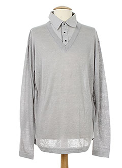 KARL LAGERFELD Pull GRIS Col chemisier HOMME (photo)