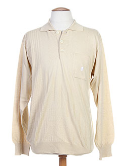 LEPOUTRE Pull BEIGE Col chemisier HOMME (photo)