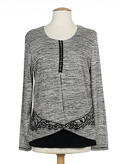 KALISSON Pull GRIS Col rond FEMME (photo)