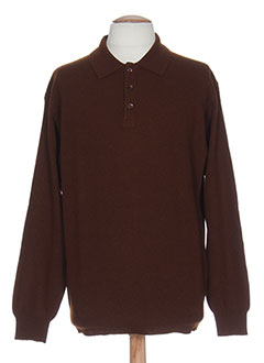 NEW STYL Pull MARRON Col chemisier HOMME (photo)