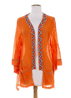 CHARLIE JOE Gilet ORANGE Cardigan FEMME (photo)